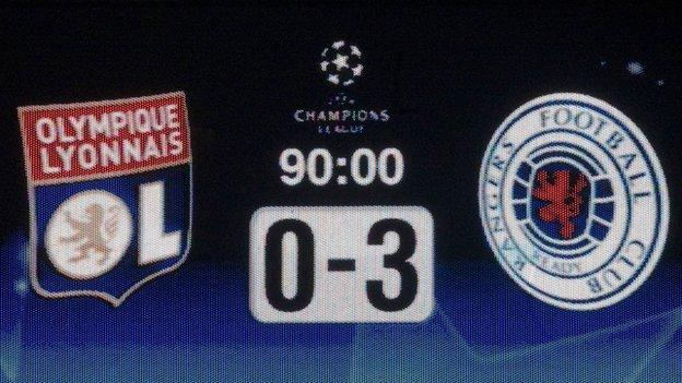The Stade de Gerland scoreboard