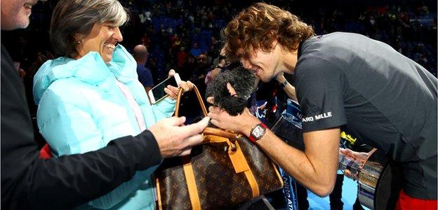 Zverev celebrated his win with his mother Irina Zvereva and the family dog