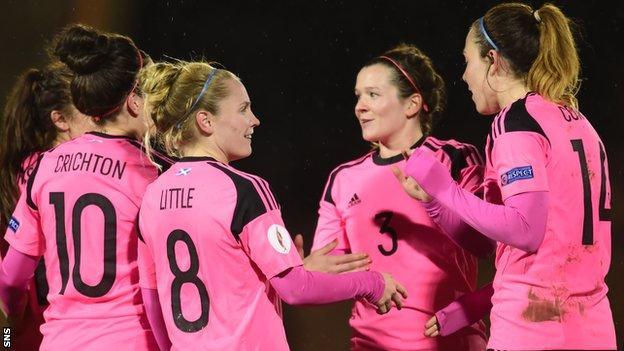 Scotland players celebrate beating Slovenia 3-1