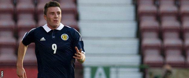 Michael O'Halloran playing for Scotland Under-21s