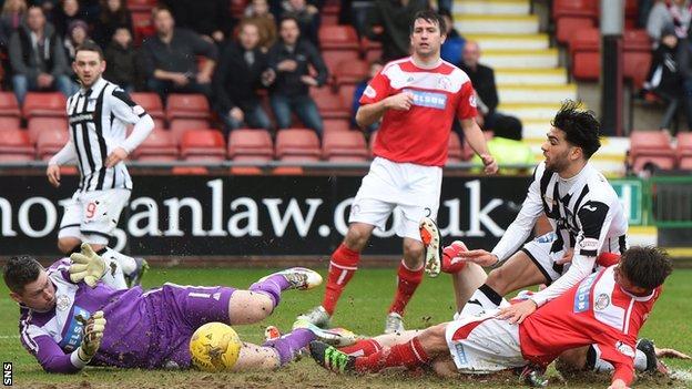 Faissal El Bakhtaoui scores for Dunfermline against Brechin City