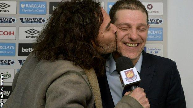 West Ham boss Slaven Bilic gets more than he bargained for during an interview with Russell Brand