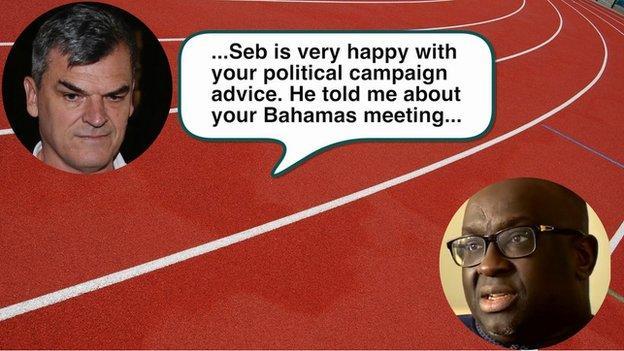 Text message sent from Nick Davies to Papa Massata Diack on 7 May, 2015
