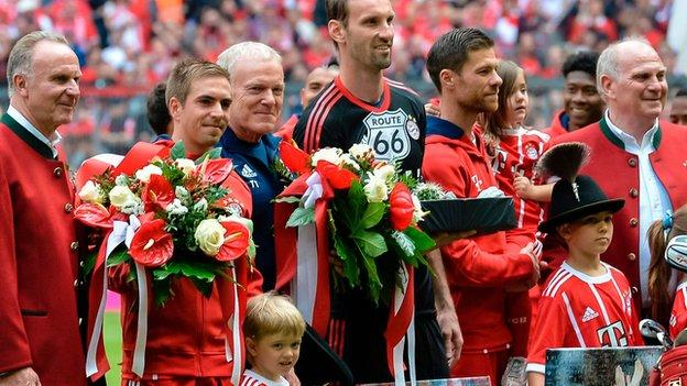 Captain Philipp Lahm and midfielder Xabi Alonso say farewell to Bayern Munich
