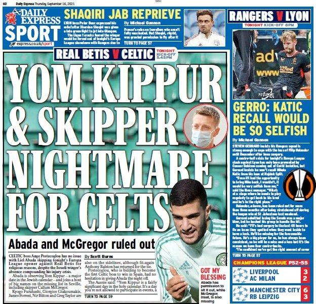 The back page of the Scottish Daily Express on 160921