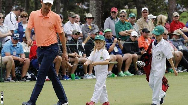 Justin Rose and his children at Augusta National