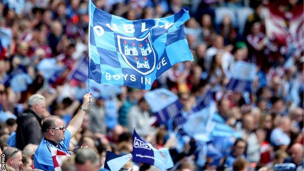 Dublin supporters cheer on their team at the Leinster Final earlier this month