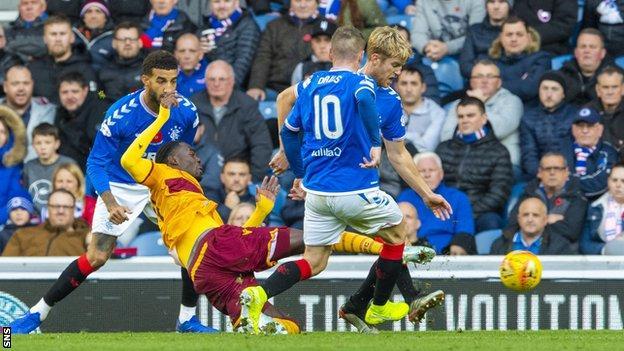 Devante Cole scores for Motherwell against Rangers