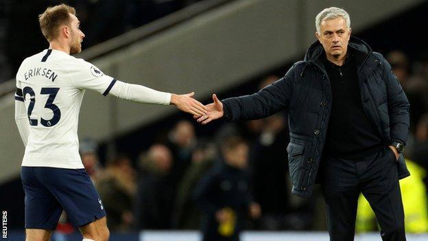 Christian Eriksen and Jose Mourinho