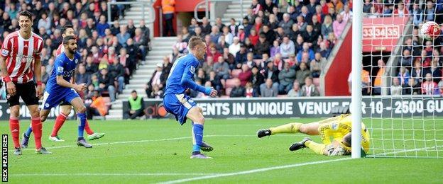 Jamie Vardy scores against Southampton