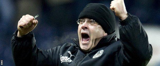 Ian McCall celebrates with Falkirk