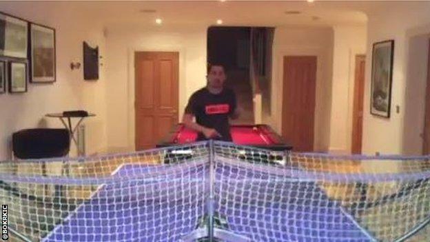 Bojan practises table tennis