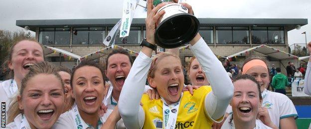 Dublin side Hermes celebrated victory over Pegasus in the Women's Champions Trophy final