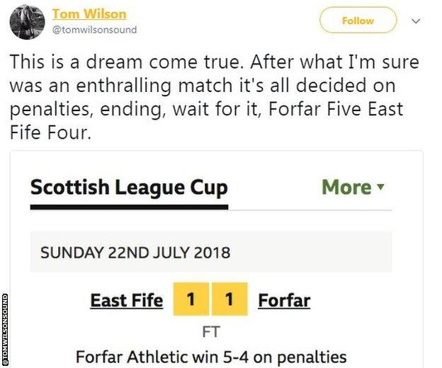 Social media reaction to East Fife v Forfar