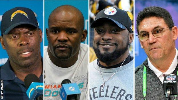 Anthony Lynn, Brian Flores, Mike Tomlin and Ron Rivera