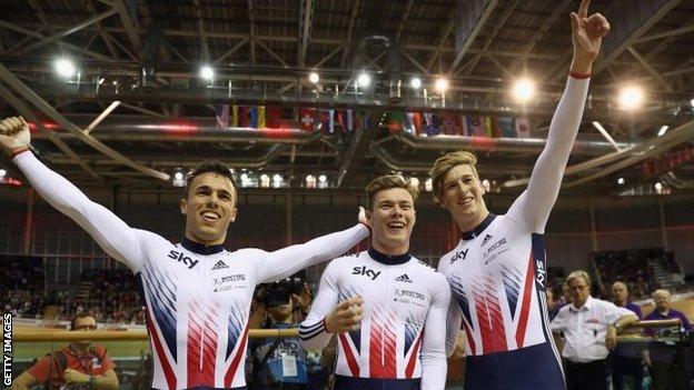 (l-r) Ryan Owens, Jack Carlin and Joe Truman after winning in Scotland