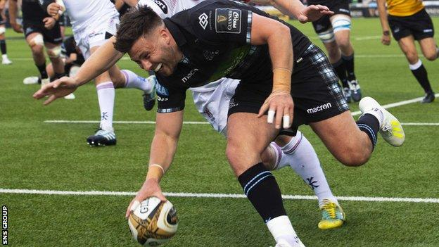 Ali Price scored the second of Glasgow's seven tries against Ulster
