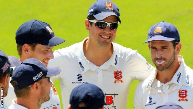 Alastair Cook with Essex team-mates