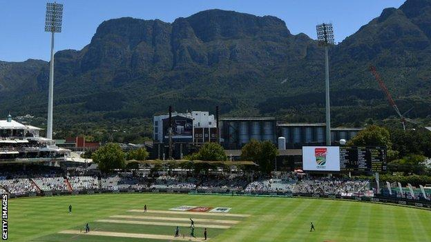 A general view inside the ground during the First One Day International match between South Africa and England at Newlands on 4 February 2020 in Cape Town, South Africa.