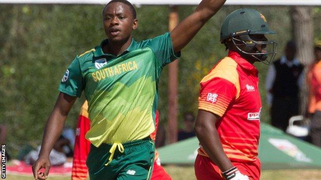 South Africa's Kagiso Rabada celebrates a wicket against Zimbabwe