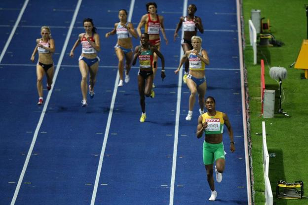 positive news Picture showing Caster Semenya will ahead of the pack in the women's 800m finals at the 2009 World Athletic Championships