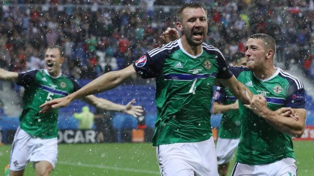 Northern Ireland's Gareth McAuley scored in a 2-0 win over Ukraine in Lyon