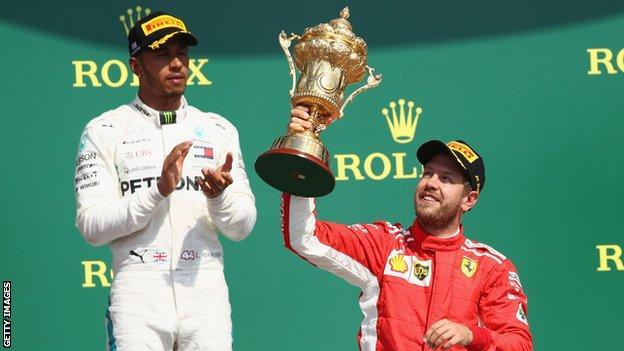 Lewis Hamilton and Sebastian Vettel on the podium at Silverstone