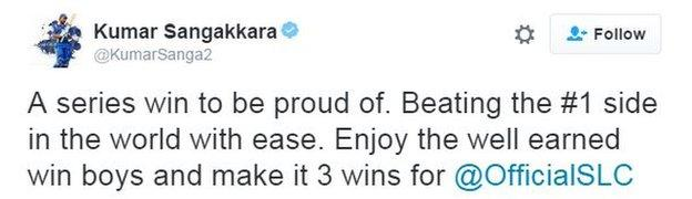 Former Sri Lanka skipper Kumar Sangakkara sent his congratulations to his compatriots after their win