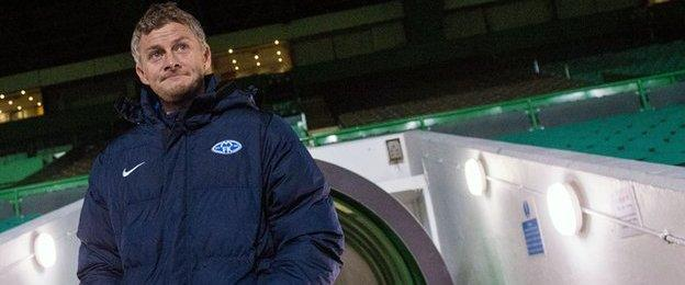 Molde head coach Ole Gunnar Solskjaer at Celtic Park
