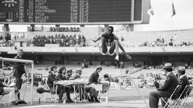 Bob Beamon sets the long jump record at Mexico City 1968