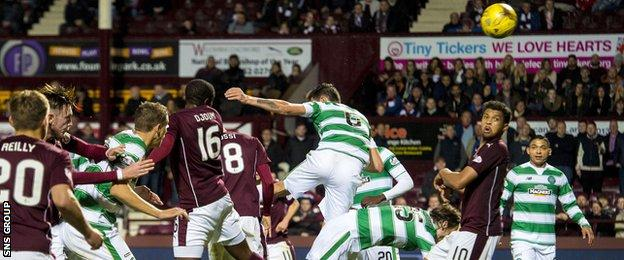 Arnaud Djoum scores in stoppage-time for Hearts