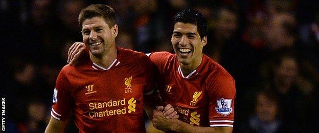 Steven Gerrard (left) and Luis Suarez