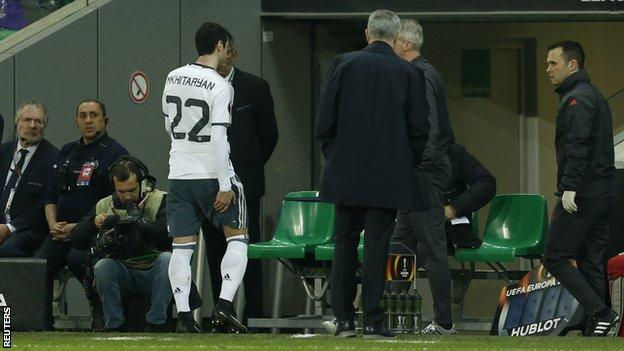 Mkhitaryan now has six Manchester United goals but left the field clutching his hamstring