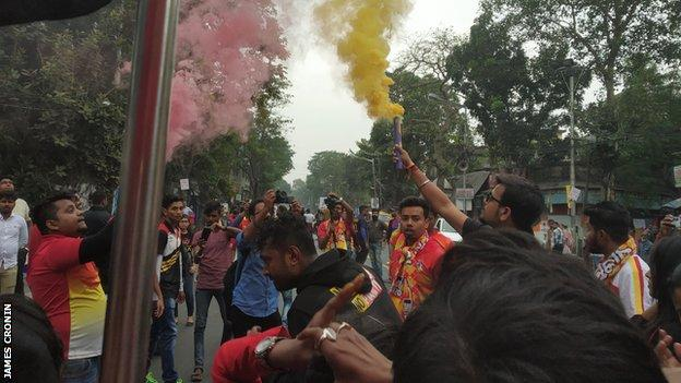 Fans outside the stadium