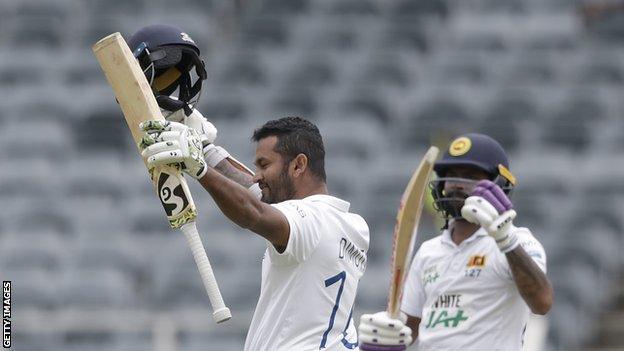 Sri Lanka's Dimuth Karunaratne celebrates his century against South Africa