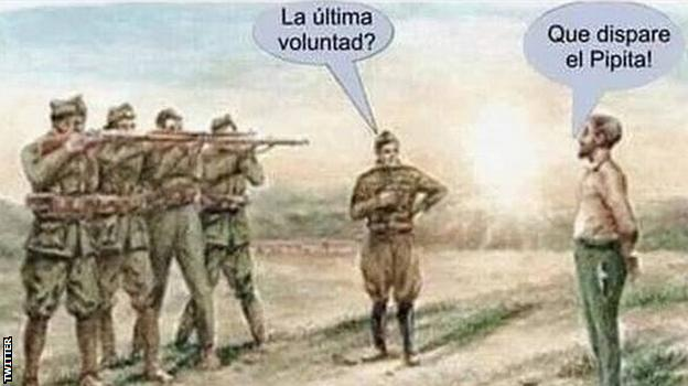 """Cartoon showing a firing squad about to shoot. A speech bubble reads: """"Any last requests?"""" and the reply is: """"For Higuain to shoot."""""""