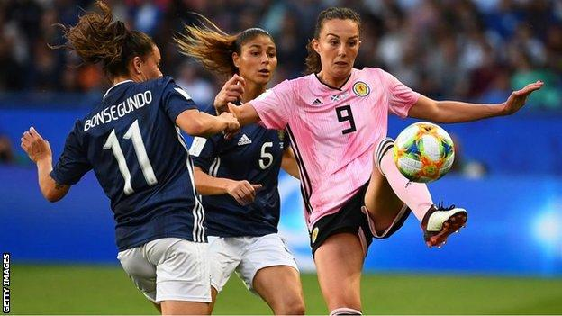 Caroline Weir playing for Scotland against Argentina