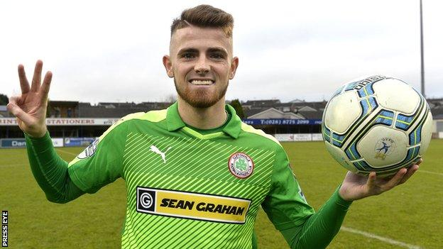 Rory Donnelly celebrates his hat-trick in the Premiership victory over Dungannon Swifts