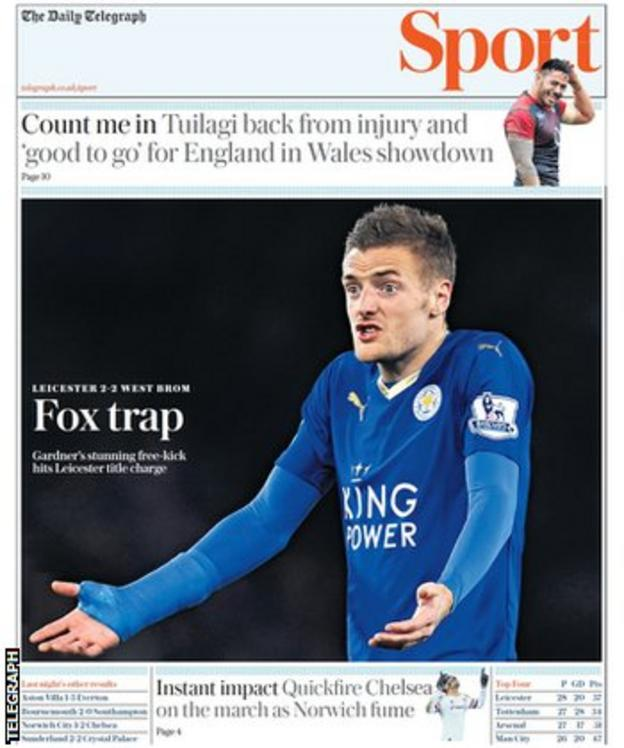 Wednesday's Telegraph Sport front page
