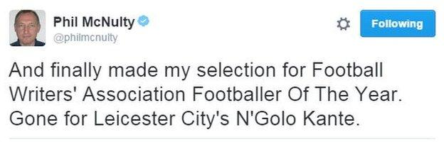 The BBC's chief football writer revealed where his vote went