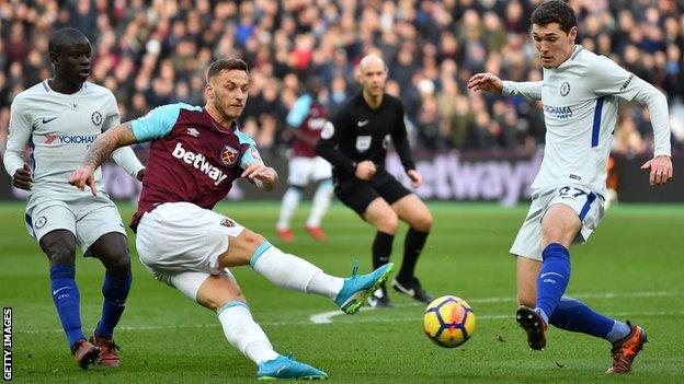 West Ham forward Marko Arnautovic shoots against Chelsea
