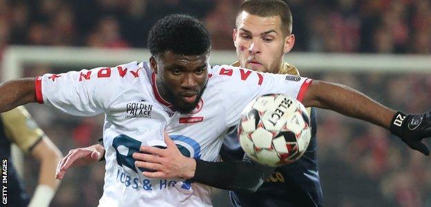 Terem Moffi in action for KV Kortrijk