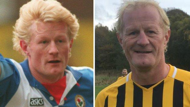 Colin Hendry with Blackburn Rovers in his Premier League heyday and with pub team Moorgate FC