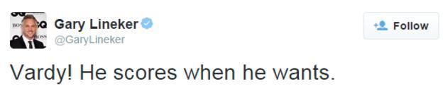 Gary Lineker tweets about Jamie Vardy