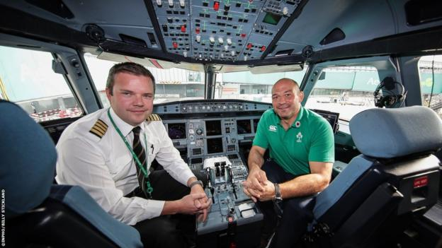 Captain Rory Best (right), who will retire from rugby at the end of the tournament, takes in the view from the cockpit
