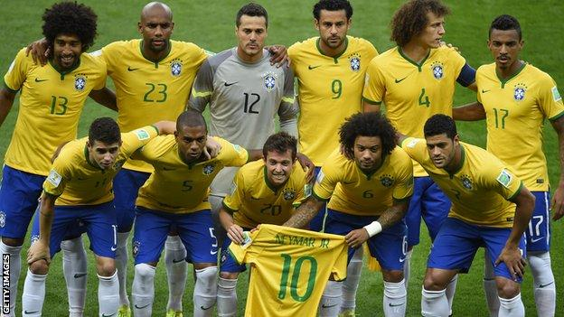 Brazil team with a Neymar shirt before the semi-final against Germany