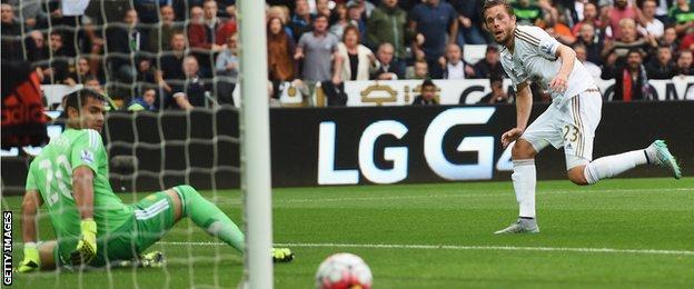 Gylfi Sigurdsson shoots wide for Swansea