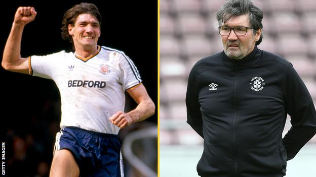 Mick Harford during his time as a player (left) and in his current role as Luton assistant manager