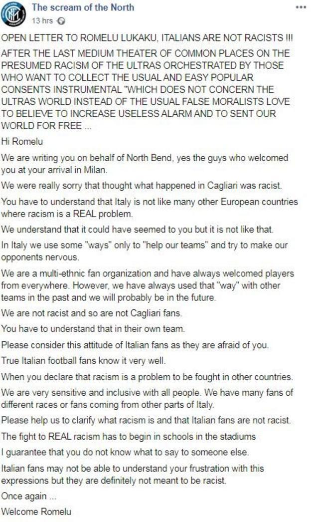 Curva Nord's open letter to Romelu Lukaku