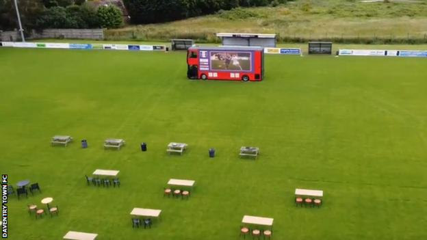 Daventry Town turned their pitch into a beer garden to help raise funds during the summer of 2020
